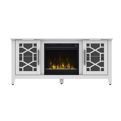 white tv stand electric fireplace heater realistic flame