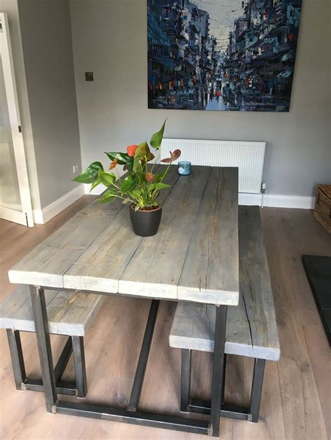 industrial style reclaimed wood grey washed dining table