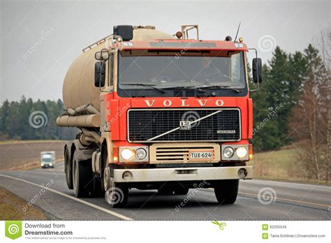 red volvo truck red volvo f12 tank truck on the road editorial stock image