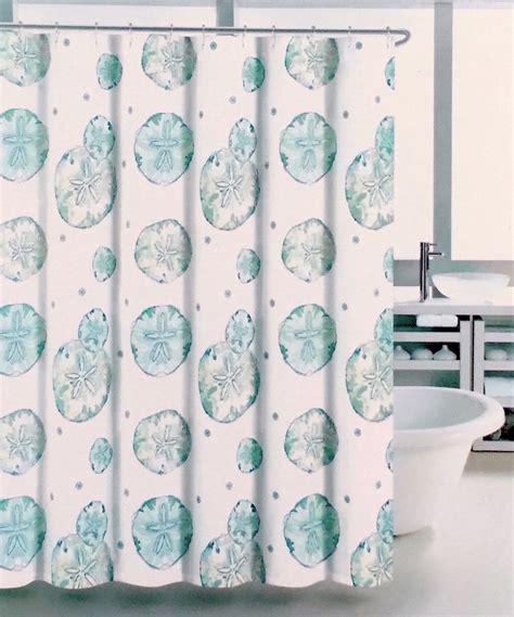 collection shower curtains coastal collection aqua blue sand dollar fabric shower Coastal