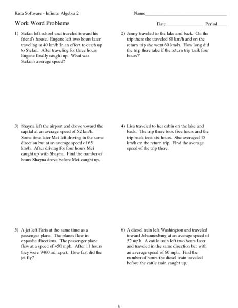twelve average speed rate word problems worksheet for 10th 12th grade lesson planet