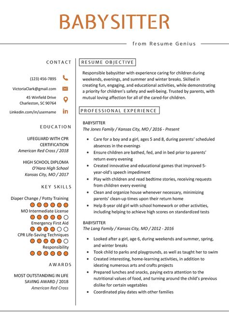 Babysitting Resume Template by Resume Exle Writing Guide Resume Genius