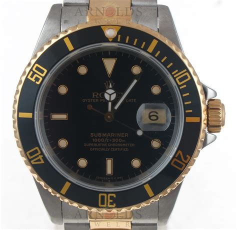 Pre-Owned 1990 Rolex Submariner Watch Two Tone With Black ...
