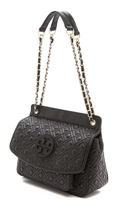 tory burch marion quilted shoulder bag  black lyst