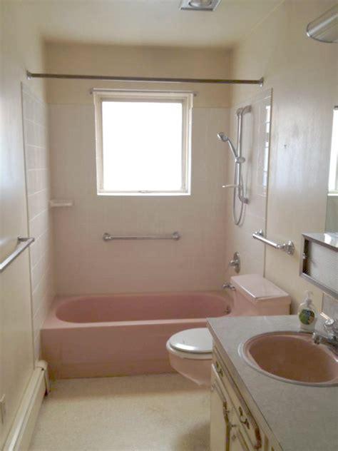budget bathroom makeover  pink toilets  pops