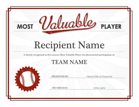 valuable player award certificate