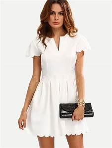 white v cut scalloped a line dressfor women romwe With robe noire col v