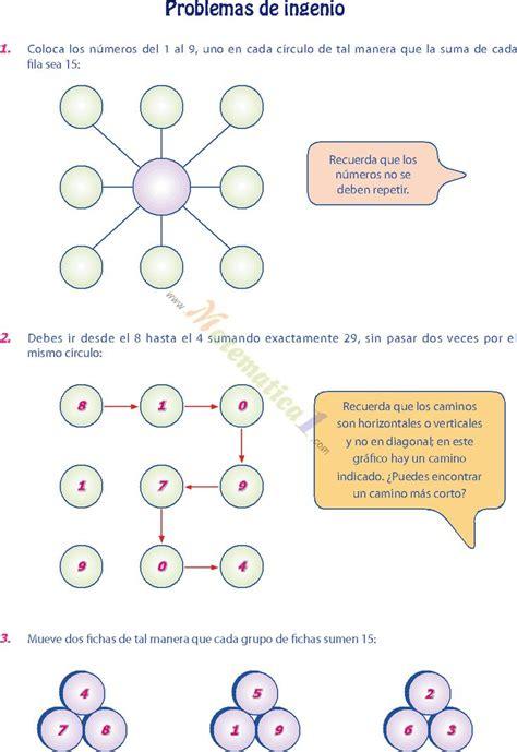 Fichas de matemática para segundo de secundaria. Matemáticas. Problemas de ingenio. | Ejercicios matematicos secundaria, Acertijos matematicos ...