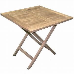 Table Jardin En Bois : table de jardin pliante forme carr e en bois teck dim 80 x 80 cm achat vente table de ~ Dode.kayakingforconservation.com Idées de Décoration