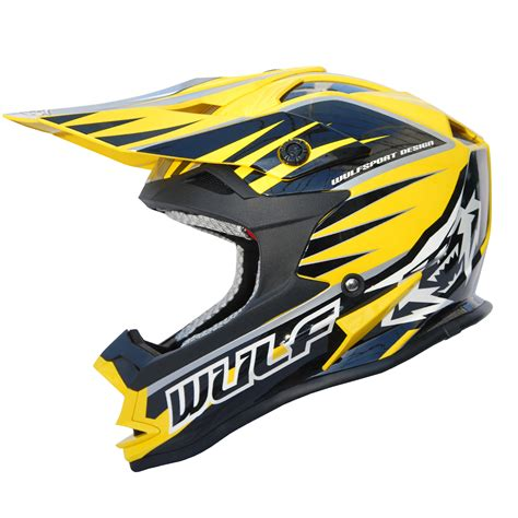 wulf motocross wulfsport advance yellow black white motocross helmet off