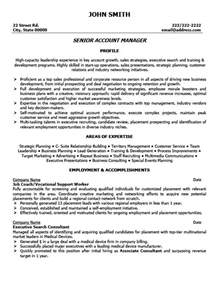 senior management resume exles senior account manager resume the best letter sle