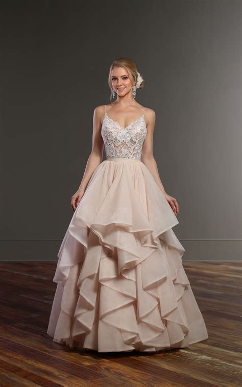 wedding separates pink  white romantic bridal gown
