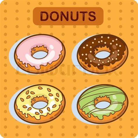 Tasty donut   cartoon vector Set of donuts Cartoon illustration   Stock Vector   Colourbox