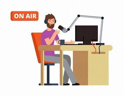 Radio Studio Cartoon Broadcasting Headphones Person Broadcast