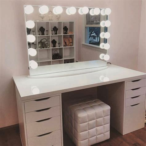 desk mirror with lights impressions vanity ikea table tops ikea alex drawers
