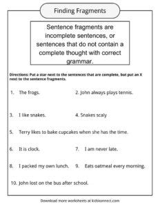 Sentence Fragments Worksheets, Examples & Definition For Kids