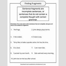 Sentence Fragments Worksheets, Examples & Definition For Kids