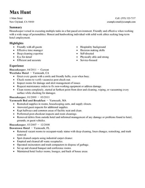 Housekeeping Resume Template by Housekeeper Resume Sle Housekeeper Hotel And