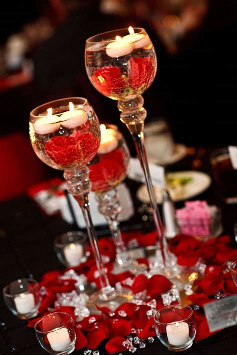 red black white wedding center pieces candle holders on