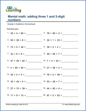 grade 4 math worksheet addition adding three 1 and 2