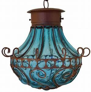 Decorations mexican blown glass lamp as wells