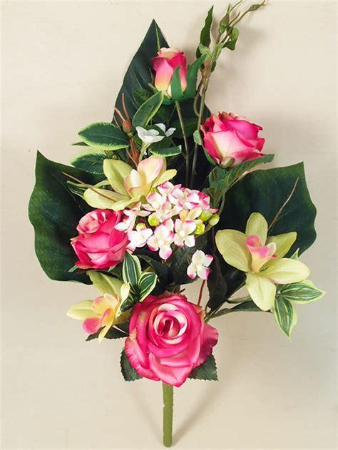 mazzi di fiori finti mazzo e orchidee artificiali decorativo cespuglio