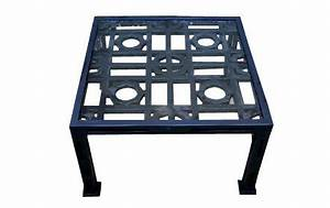 design on sale daily glass metal outdoor coffee table With blue metal coffee table