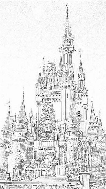 Disney Coloring Pages Castle Walt Cinderella Disneyland