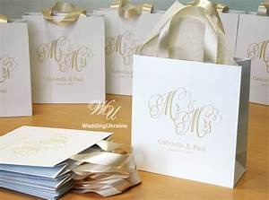 35 champagne wedding welcome bags with satin ribbon and names With wedding gift for guests