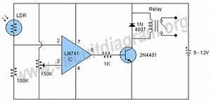 Lm741 Light Sensor Relay Switch