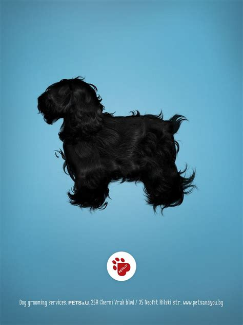 hairy dog silhouette ads dog grooming services