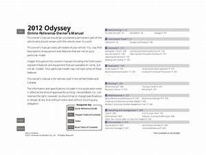 2012 Honda Odyssey Owners Manual Pdf