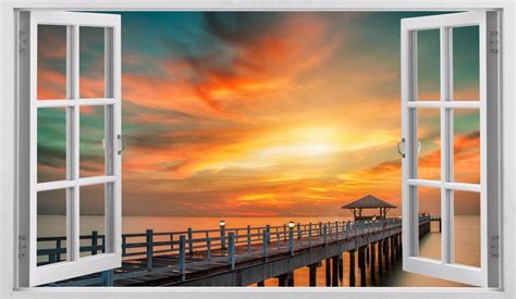 3d Window Ocean View Blue Sea Home Decor Wall Sticker: Sunset Sea Ocean Sunshine 3D Window Removable Sticker