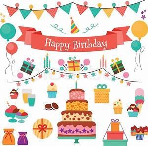 Happy Birthday vector concept Set of birthday holiday