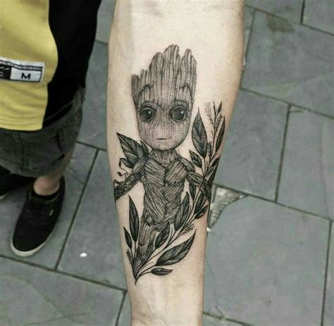 adorable baby groot tattoo designs