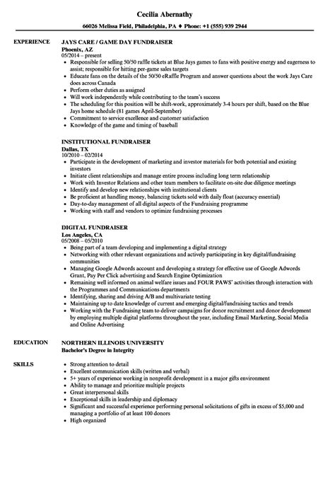 Fundraising Resume by Fundraiser Resume On Fundraising Resume Resume Paper Ideas