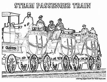 Train Coloring Steam Passenger Wheels Pages Trains