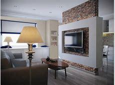 Perete despartitor placat cu caramida decorativa in living