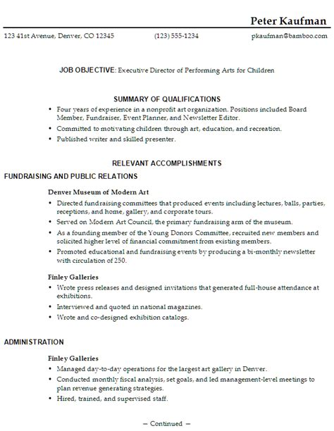 Self Employed Artist Resume Sle by Resume Sle Executive Director Performing Arts