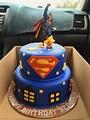 Superman birthday cake with fondant decorations ...