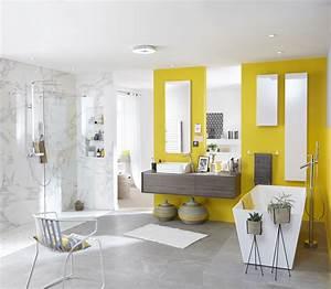 Carrelage Et Salle De Bain : salle de bains grise et jaune avec carrelage sol et mur effet marbre salledebains carrelage ~ Melissatoandfro.com Idées de Décoration