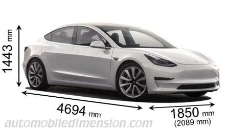 dimensions  tesla cars showing length width  height