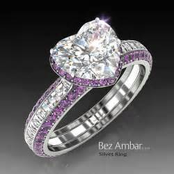 purple engagement ring silvet amethyst engagement ring set for shape