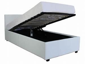 Lit A Coffre : lit coffre 90x190 cm michigan coloris blanc vente de lit ~ Teatrodelosmanantiales.com Idées de Décoration