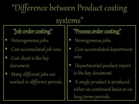 difference  job order costing
