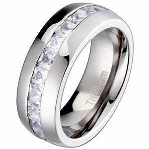 New titanium princess cubic zirconia mens wedding ring for Cubic zirconia mens wedding rings