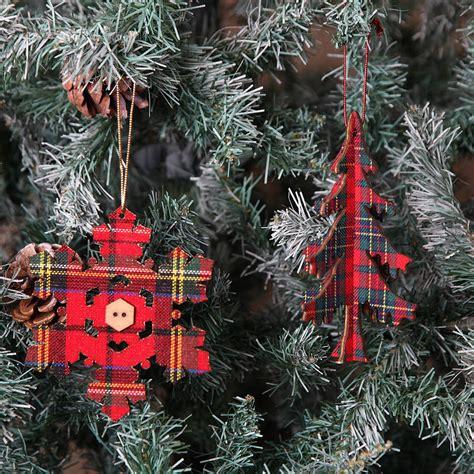 set   tartan christmas tree decorations  red berry