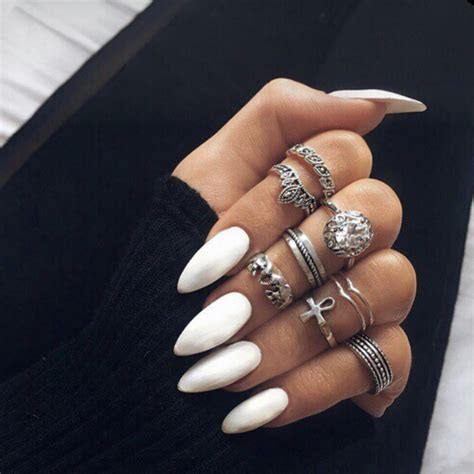 White Solid Color Long Fake Nails Acrylic Artificial