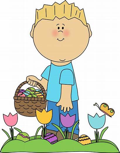 Easter Hunt Clipart Eggs Boy Looking Egg