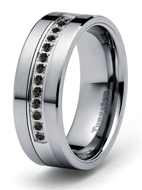 8mm 0 21ct black diamond tungsten modern men s wedding ring band engagement ebay